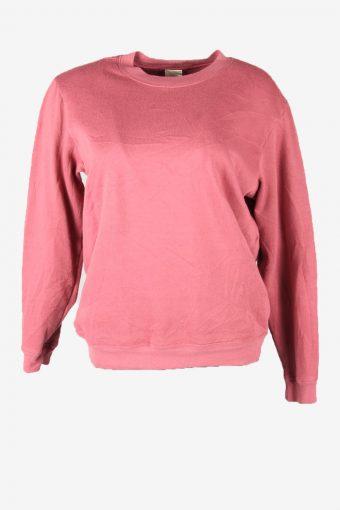 Vintage 90s Sweatshirt Plain Pullover Sports Retro Pink Size M