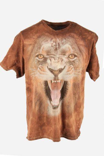 3D Animal Print Tie Dye T-Shirt Retro Festival Hipster Men Brown Size XL