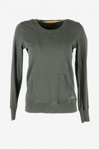 90s Sweatshirt Plain Vintage Pullover Sports Retro Dark Grey Size S