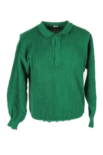 Aran Knit Jumper Vintage Collared Button Pullover 90s Green Size M