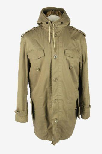Army Military  Vintage Parka Coat Jacket German Flag Hooded Khaki Size L