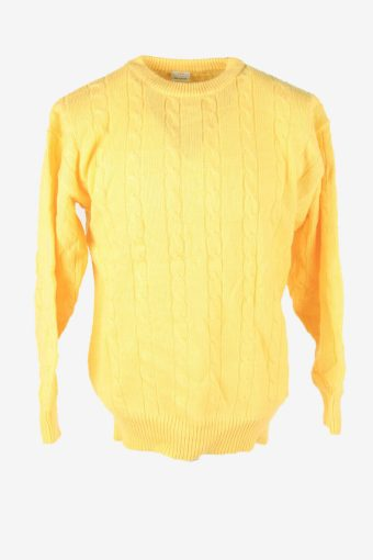 Cable Knit Jumper Vintage Crew Neck Pullover 90s Yellow Size M
