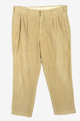 Corduroy Cord Trousers Vintage Loose Casual 90s Cream Size W34 L27