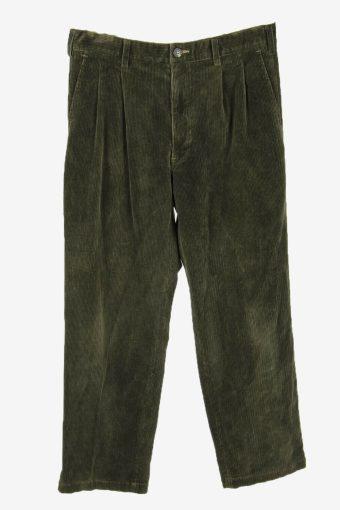 Corduroy Cord Trousers Vintage Straight Smart Dark Green Size W33 L30