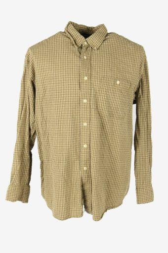 Flannel Shirt Vintage Check Long Sleeve Button 90s Cotton Beige Size L – SH4240