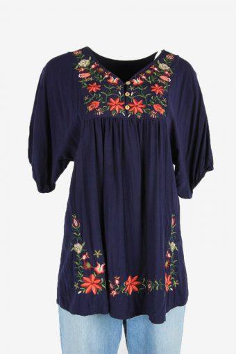 Floral Blouse Tunic Top Hippie Gypsy Vintage Kaftan 90s Navy Size L