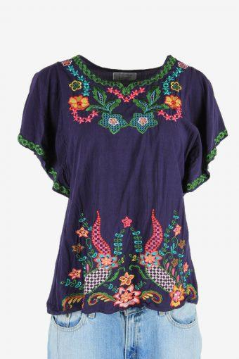 Floral Blouse Tunic Top Hippie Gypsy Vintage Kaftan Retro Navy Size M