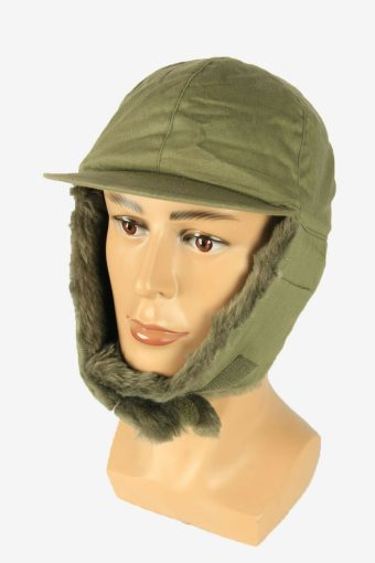 Fur Cap Hat Vintage Earflaps Ski Cossack Winter 90s Green Size 59 cm