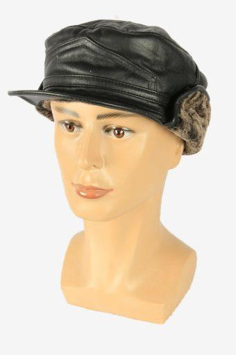 Fur Leather Cap Hat Vintage Earflaps Ski Cossack 90s Black Size 62 cm
