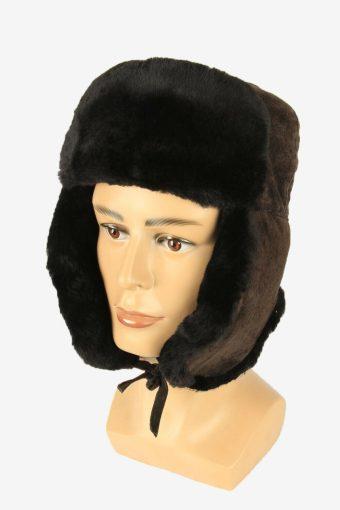 Fur Ushanka Hat Vintage Earflaps Ski Cossack 90s Brown Size 58 cm