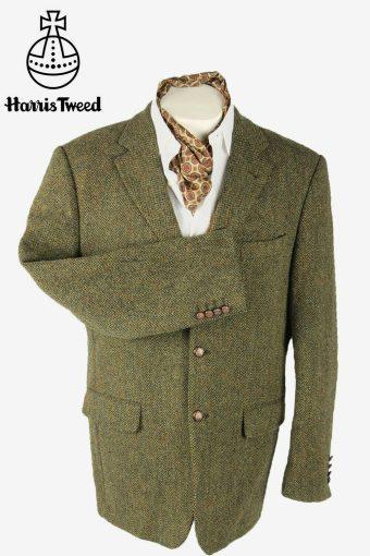 Harris Tweed Vintage Blazer Jacket Herringbone Weave Green Size L
