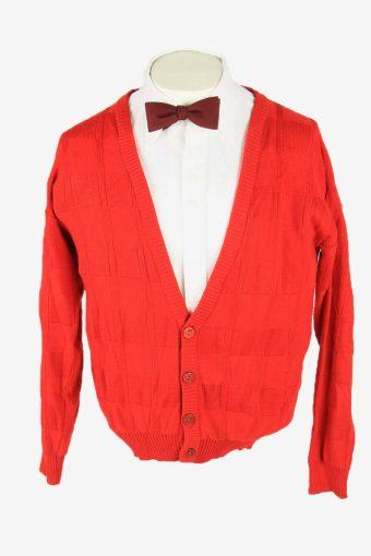 Knit Cardigan Vintage V Neck Sweater Soft Button Up 90s Red Size M