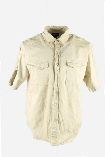 Mens Vintage Dickies Shirt USA Workwear Chore Short Sleeve Cream Size L