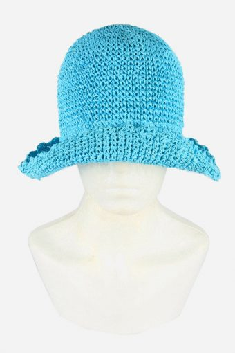 Straw Style Hat Brimmed Summer Bowknot 90s Retro Turquoise Size 57 cm