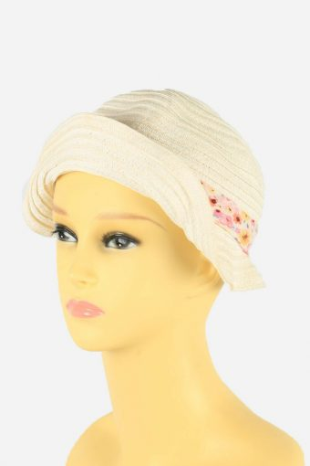 Straw Style Hat Brimmed Summer Floral 90s Retro White Size 56 cm