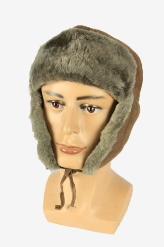 Suede Fur Winter Hat Ushanka Vintage Earflaps 80s Beige Size 60 cm