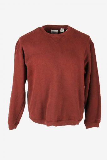 Vintage 90s Sweatshirt Plain Pullover Sports Retro Burgundy Size M