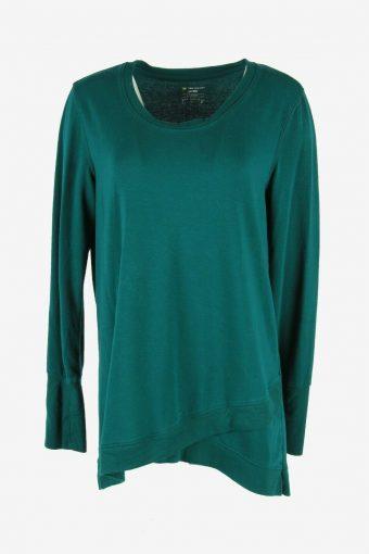 Vintage 90s Sweatshirt Plain Pullover Sports Retro Green Size L