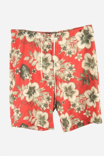 Vintage Abercrombie Bermuda Holiday Hawaiian Floral Shorts Red Size M