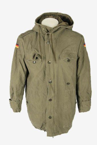Vintage Army Military  Parka Coat Jacket German Flag Hooded Khaki Size M