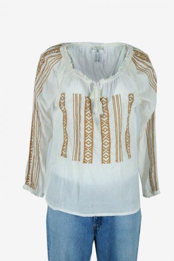 Vintage Boho Embroidered Blouse Hippie Gypsy 90s Retro White Size XL