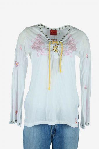 Vintage Boho Floral Blouse Indian Hippie Gypsy 90s Retro White Size M