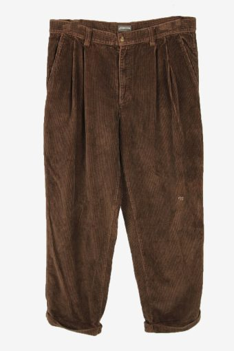 Vintage Corduroy Cord Trousers Oversize Smart 90s Brown Size W38 L31