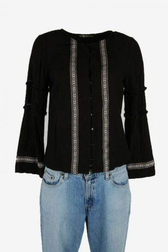 Vintage Embroidered Hippie Gypsy Blouse Tunic Top Kaftan Black Size S