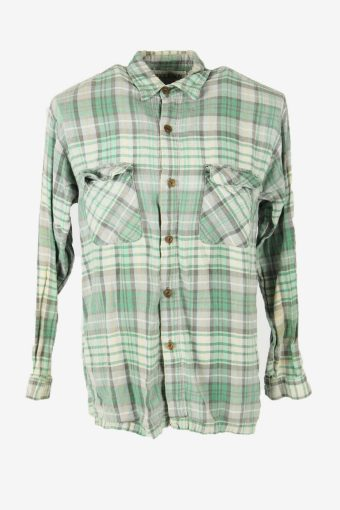 Vintage Flannel Shirt Check Long Sleeve Button 90s Cotton Multi Size M – SH4244