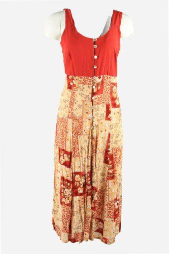 Vintage Floral Dress V Neck Button Up 80s Midi Women Multi Size L