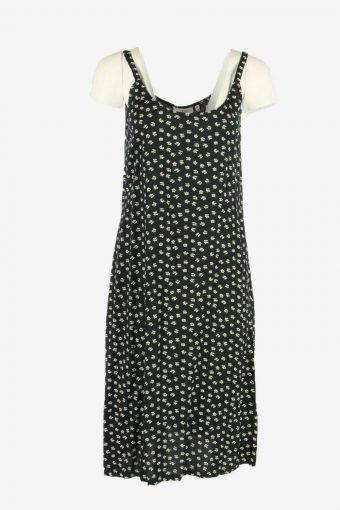 Vintage Floral Midi Dress Sleeveless Round Neck 90s Retro Black Size M