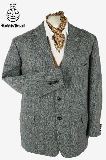 Vintage Harris Tweed Blazer Jacket Windowpane Country  Grey Size XXXL
