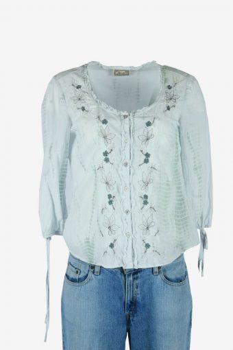 Vintage Hippie Gypsy Floral Blouse Cotton Top Kaftan Retro Blue Size M