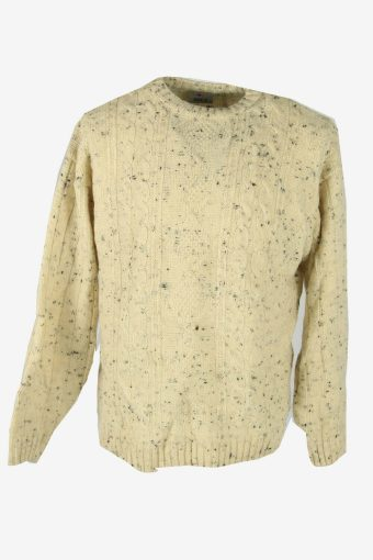 Vintage Jumper Cable Knit Crew Neck Pullover Warm 90s Cream Size S