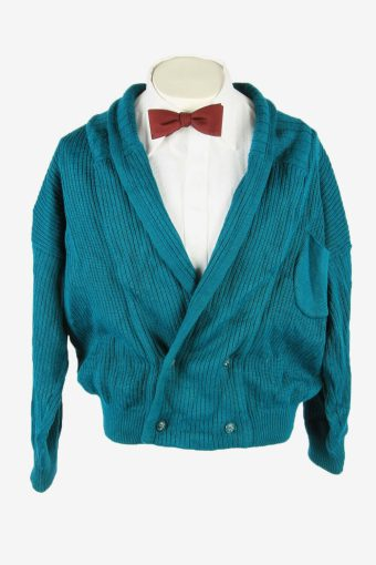 Vintage Knit Cardigan Shawl Neck Pocket Button Up 90s Turquoise Size L