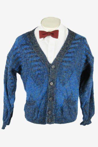 Vintage Knit Cardigan V Neck Pocket Aztec Button Up 90s Blue Size S