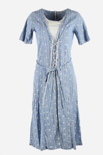 Vintage Polka Dot Dress 80s Design Short Sleeve Midi Women Blue Size M