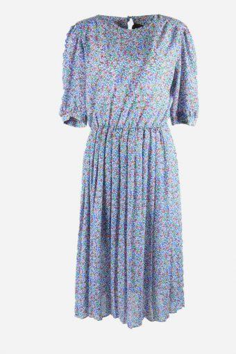 Vintage Printed Dress Short Sleeve 90s Midi Elastic Waist Multi Size L