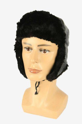 Vintage Russian Style Leather Hat Earflaps Winter Warm Black Size 52 cm