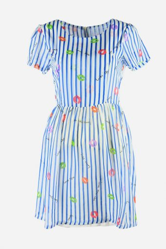Vintage Short Sleeve Dress Kiss Printed 90s Fit & Flare Women Multi Size S