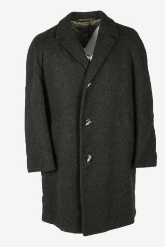 Vintage Wool Coat Winter Coat Jacket Classic Lined Dark Grey Size L