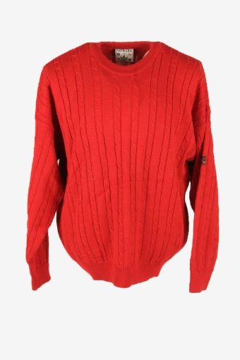 Vintage Wool Jumper Cable Knit Crew Neck Pullover 90s Red Size XXL