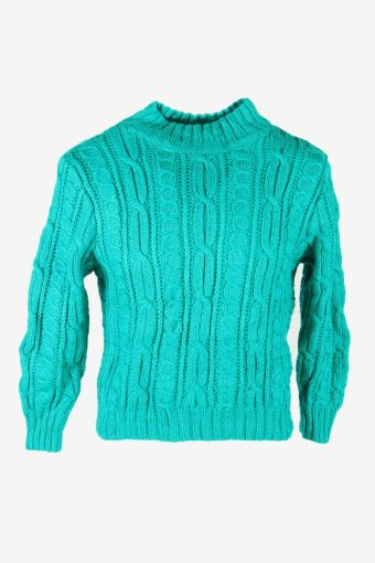 Vintage Wool Jumper Cable Knit Turtle Neck Pullover 90s Turquoise Size M