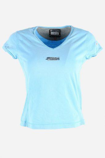 Women Champion T-Shirt Tee Short Sleeve Sports Vintage 90s  Blue Size M