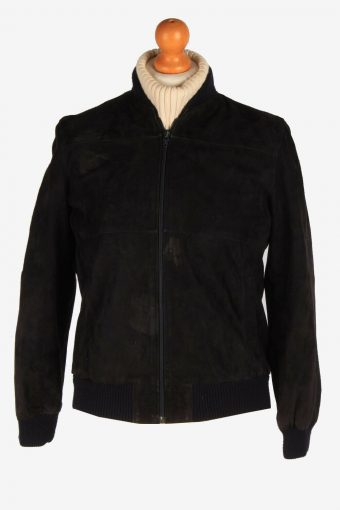 Womens Suede Leather Bomber Zip Up Vintage Lined Retro Black Size S