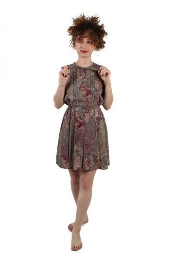 Ark Reworked Tie Round Neck Elasticated Waist Vintage Short Dress