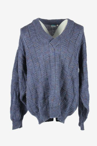 Cable Knit Wool Jumper Vintage Shawl Neck Pullover 90s Blue Size XL