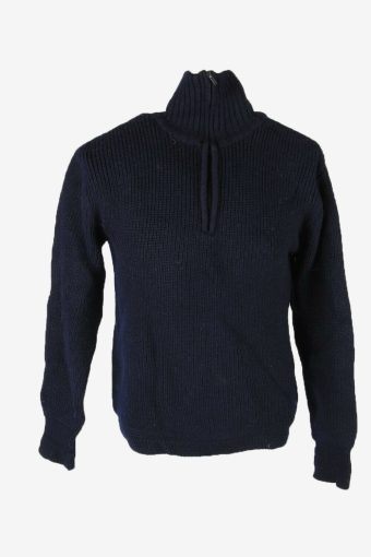 Cable Knit Wool Jumper Vintage Turtle Neck Zip Pullover 90s Navy Size M