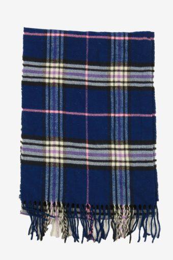 Check Tartan Scarf Vintage Soft Tassel Plaid Warm 90s Retro Navy