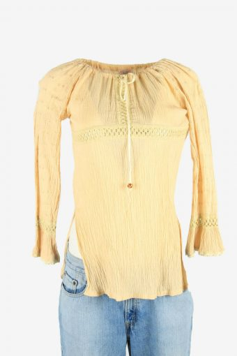 Embroidered Blouse Tunic Top Hippie Gypsy Vintage Kaftan Beige Size S